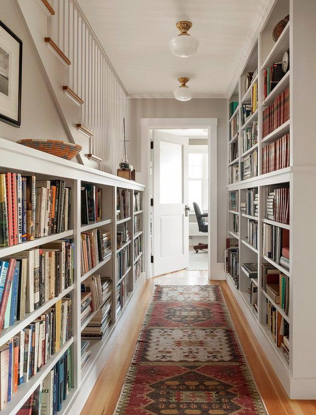 Open Book Shelf in hallway. adding character to hallway, interior designs by lakkad works