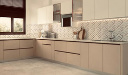 modular kitchen designed in beige and frosty white