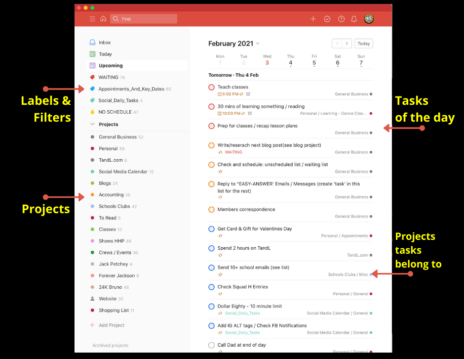 Example of todoist dashboard