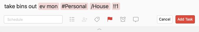Keyboard shortcut example in Todoist