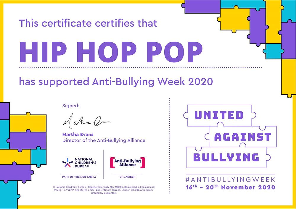 Anti-bullying week 2020 uk  Hip Hop Pop certificate