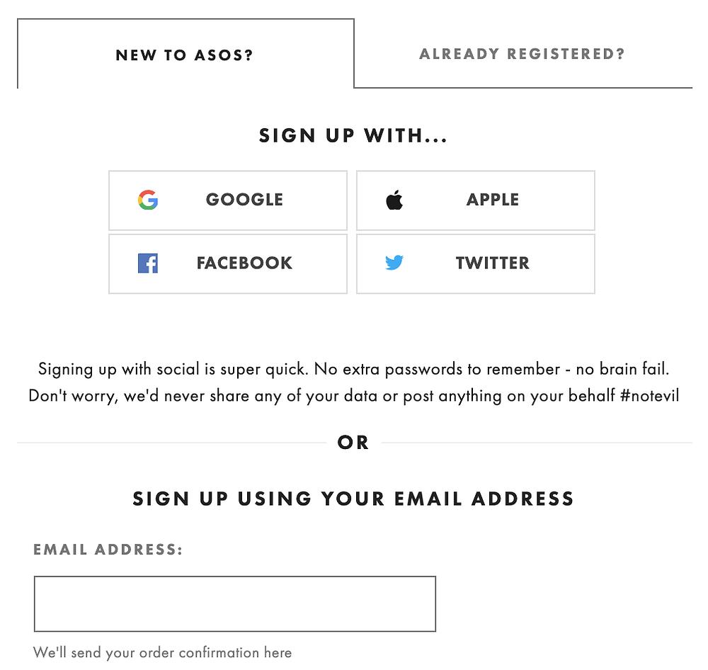 screenshot of ASOS sign up form
