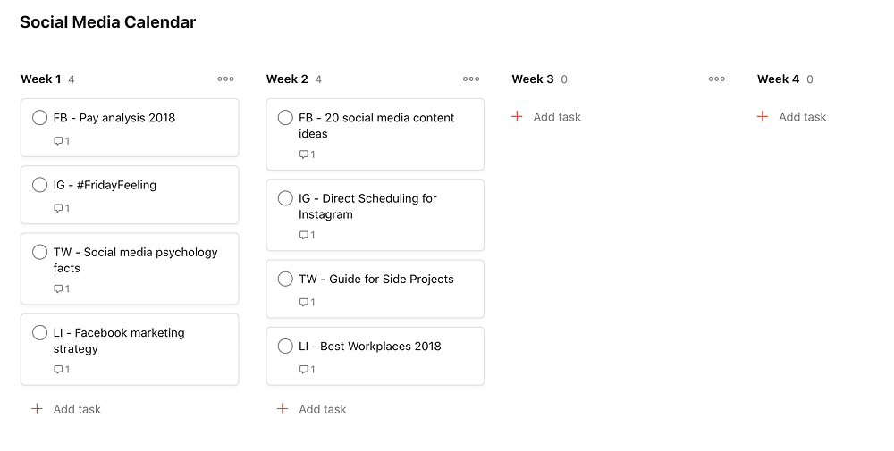 Board view example in Todoist