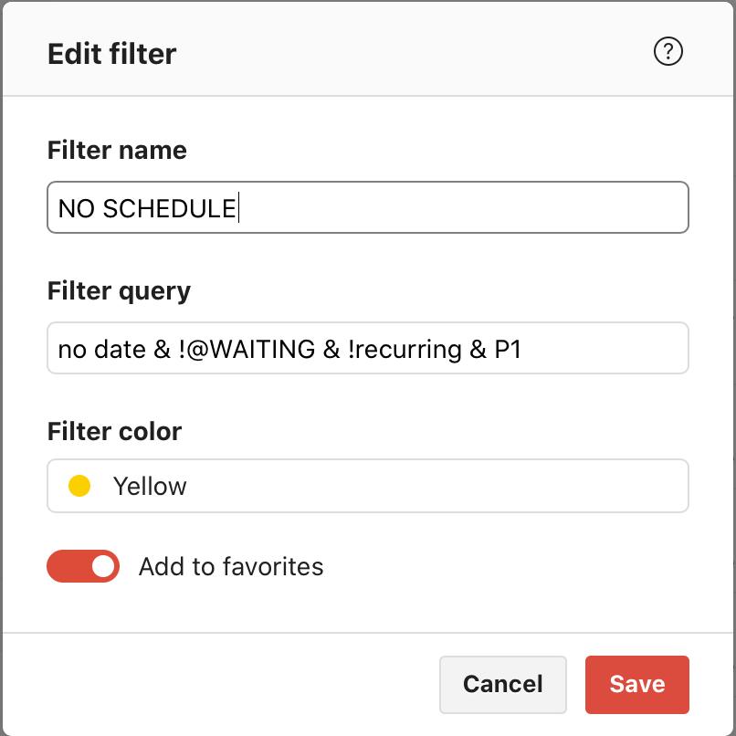 demonstration of filter instruction in Todoist
