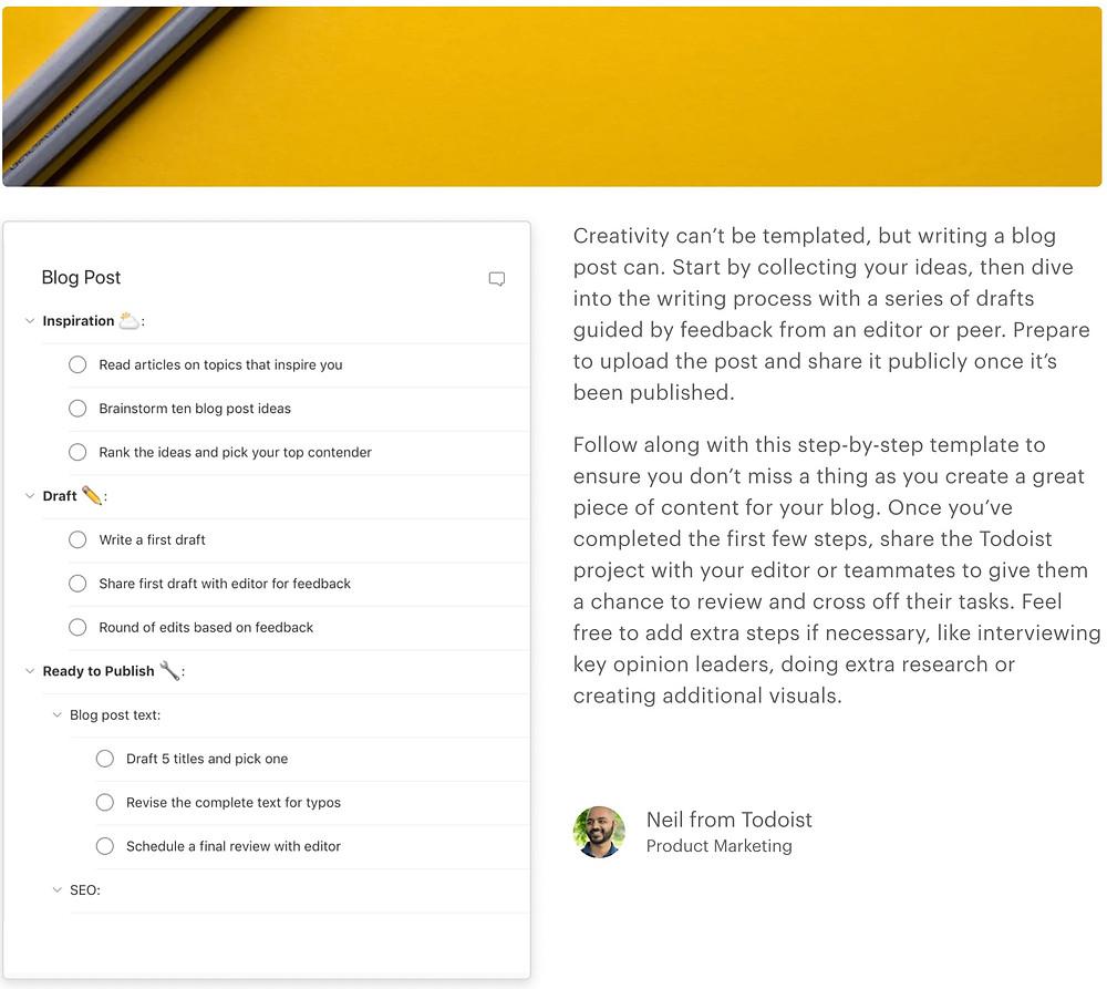 Screenshot of Blog Post Template on Todoist