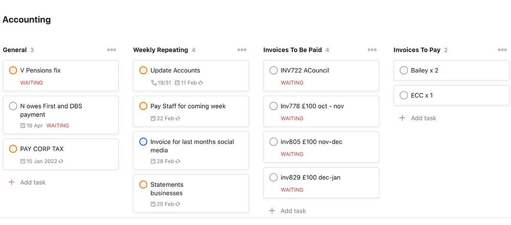 Screenshot of Accounting Tasks Template on Todoist