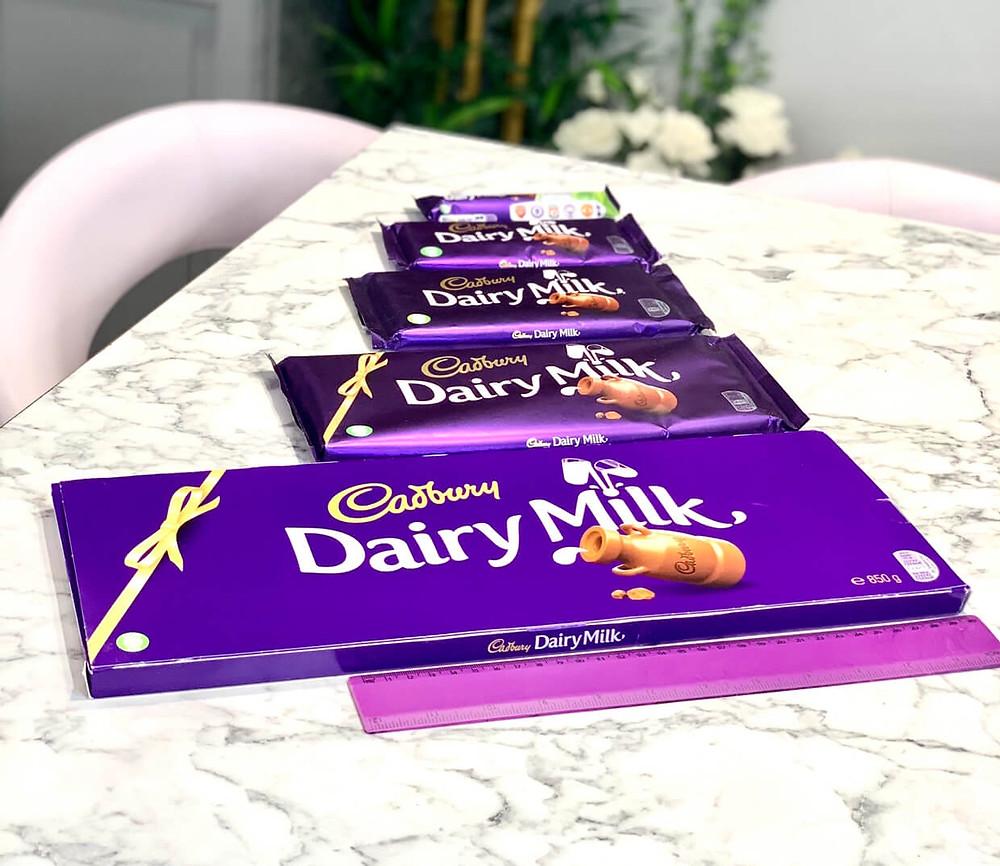 Different sizes of Cadbury Dairy Milk
