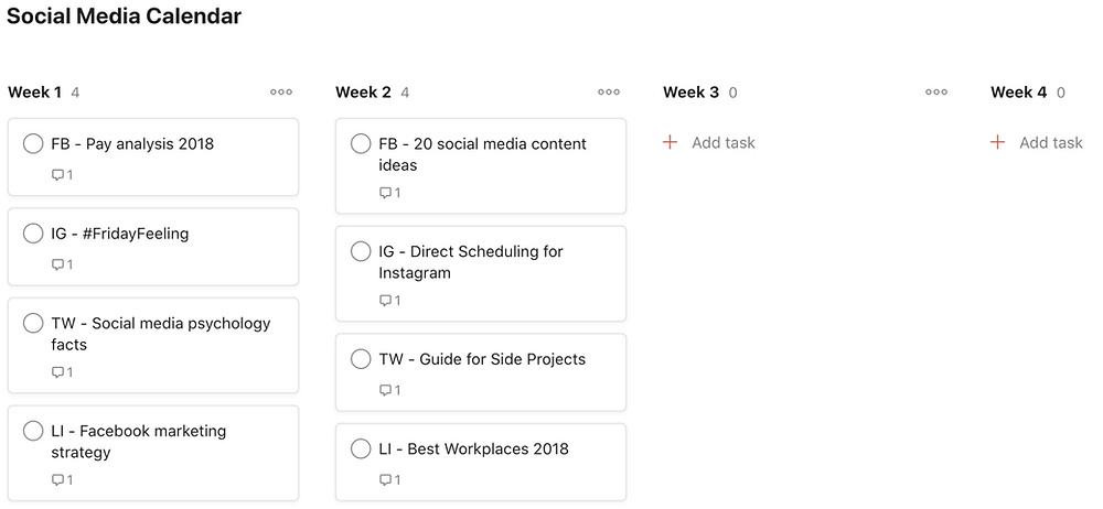 Screenshot of Social Media Calendar Template on Todoist