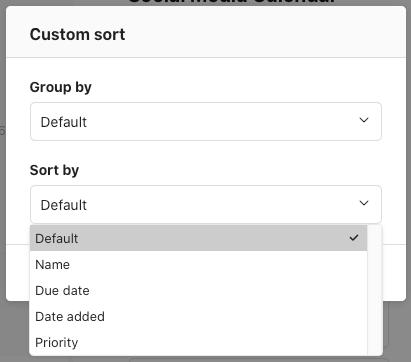 Custom sorting options in Todoist