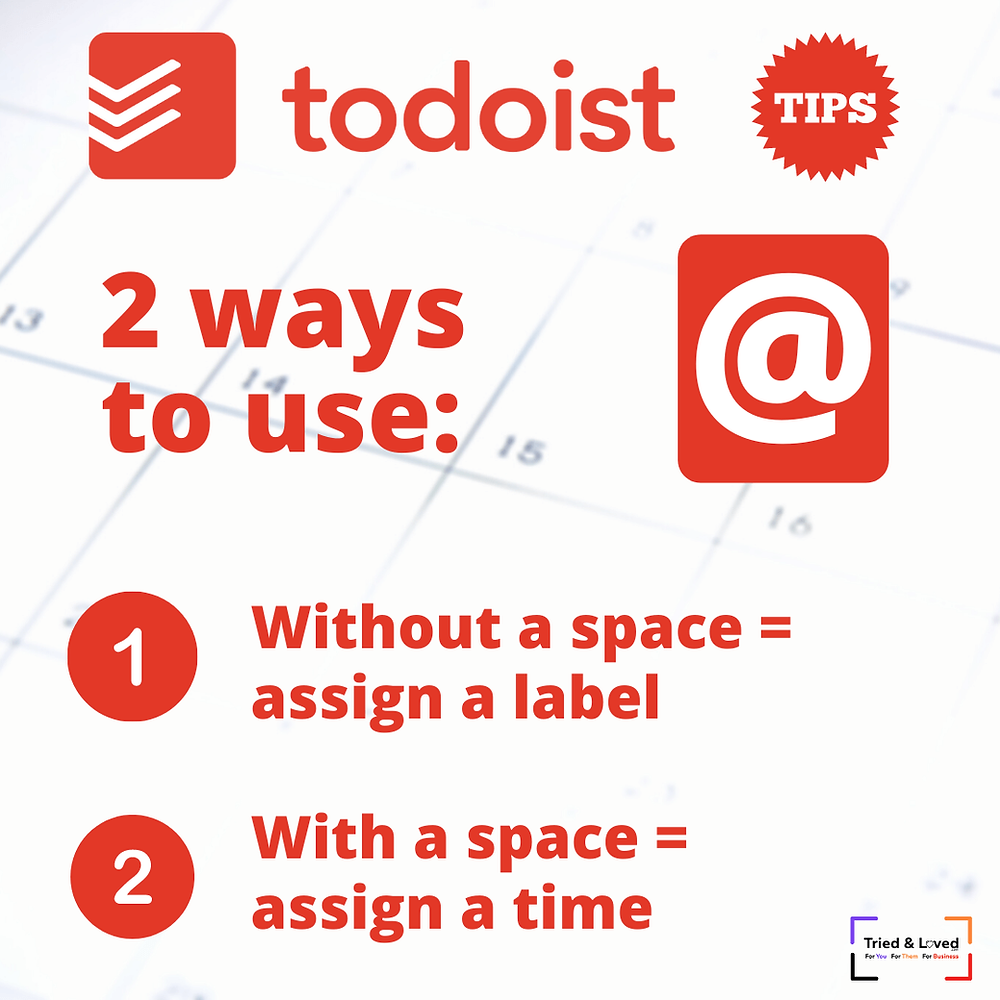 2 ways to use at symbol in todoist