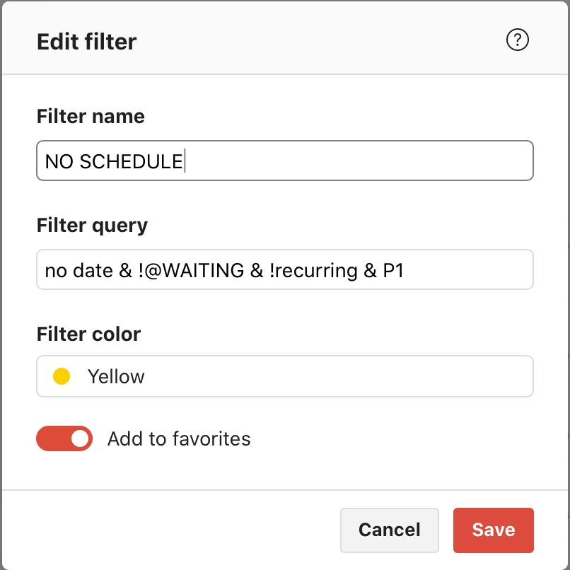 Todoist filters example