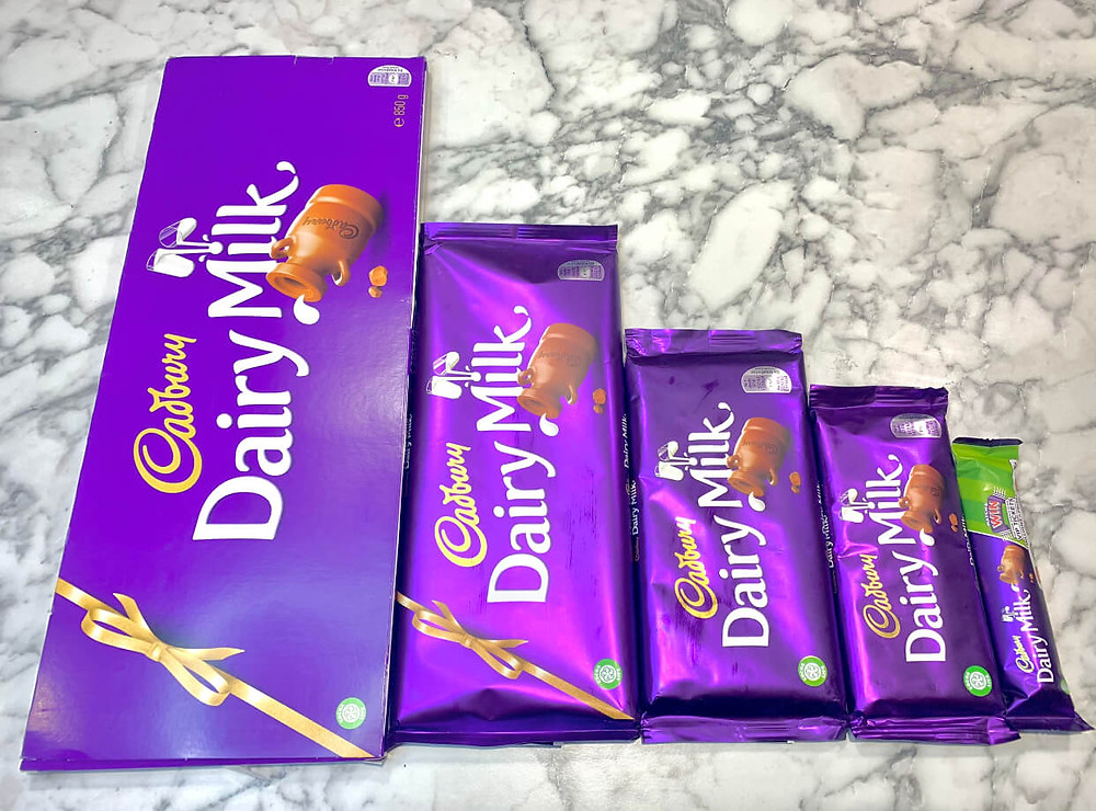 Different sizes of dairy milk you can personalise