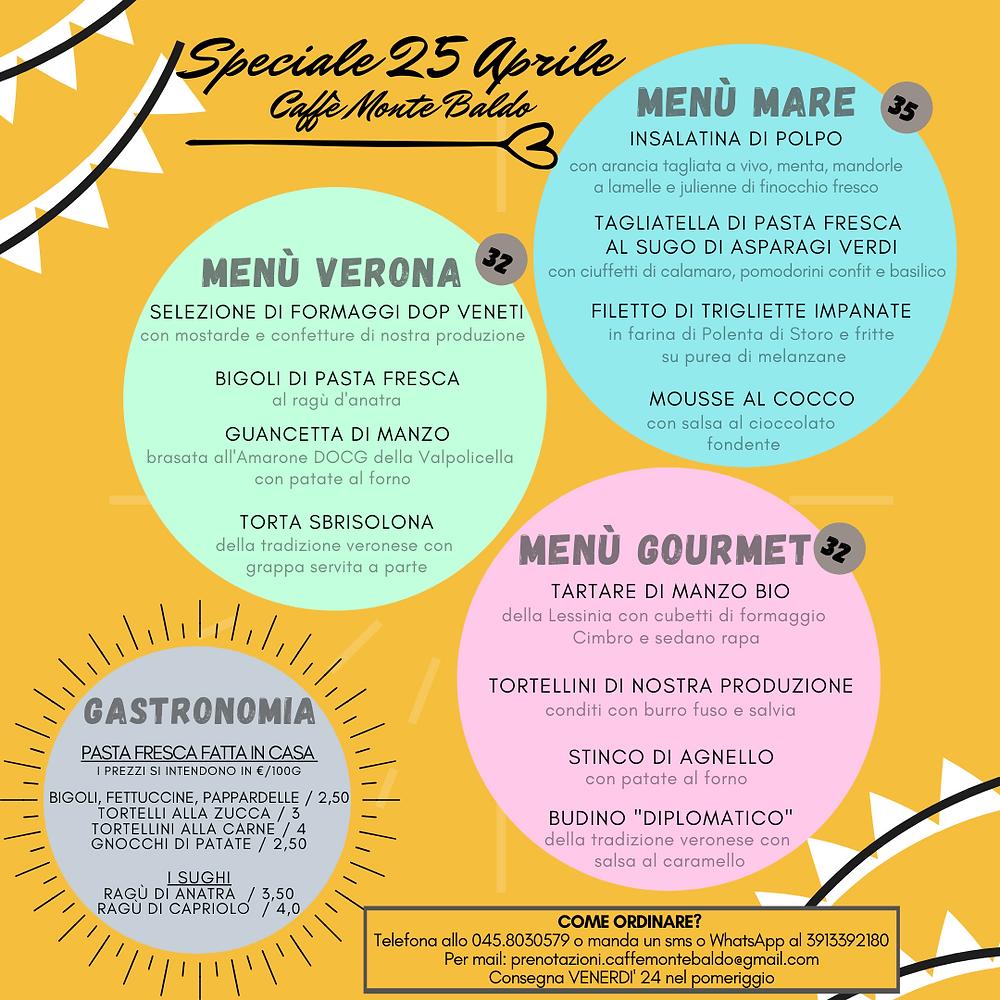 le proposte per la consegna a domicilio del 25 Aprile dell'osteria Caffè Monte Baldo