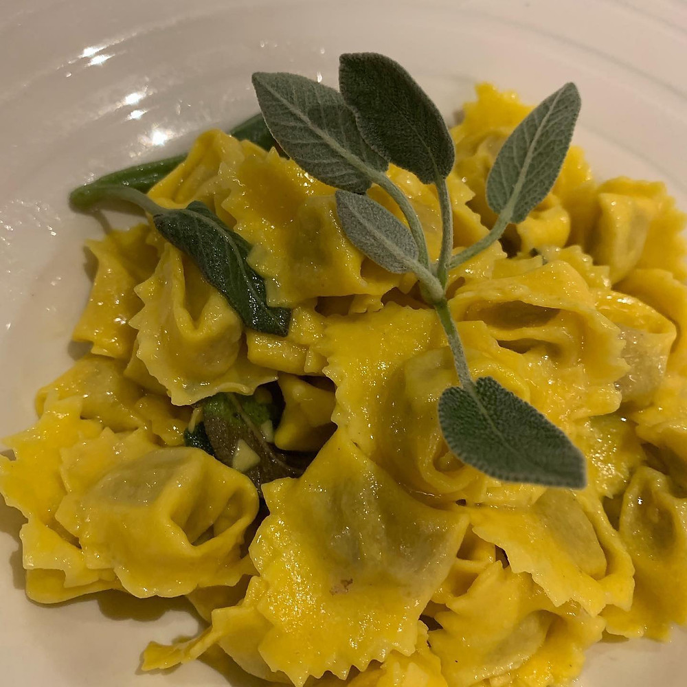 home made tortellini, here server with butter and sage, are one of the most famous dish of our Caffè Monte Baldo