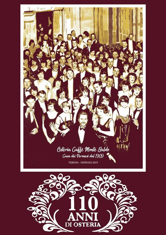 La copertina del nostro calendario per celebrare i 110 anni dell'Osteria Caffè Monte Baldo. Illustrazione a cura di Giacomo Trivellini.