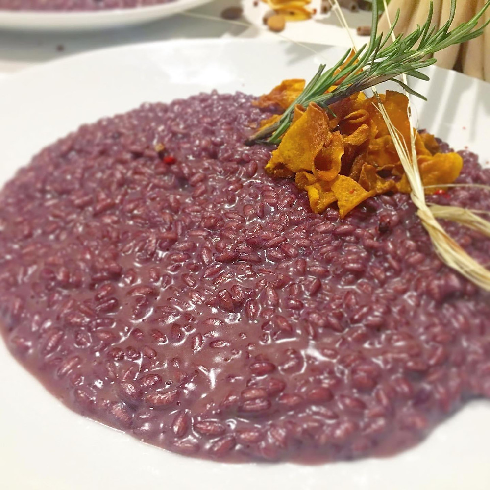 Risotto all'Amarone made at osteria Caffè Monte Baldo