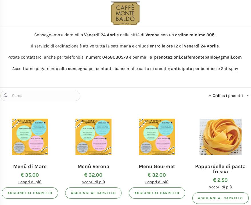Screenshot della piattaforma di ordine on line del Caffè Monte Baldo