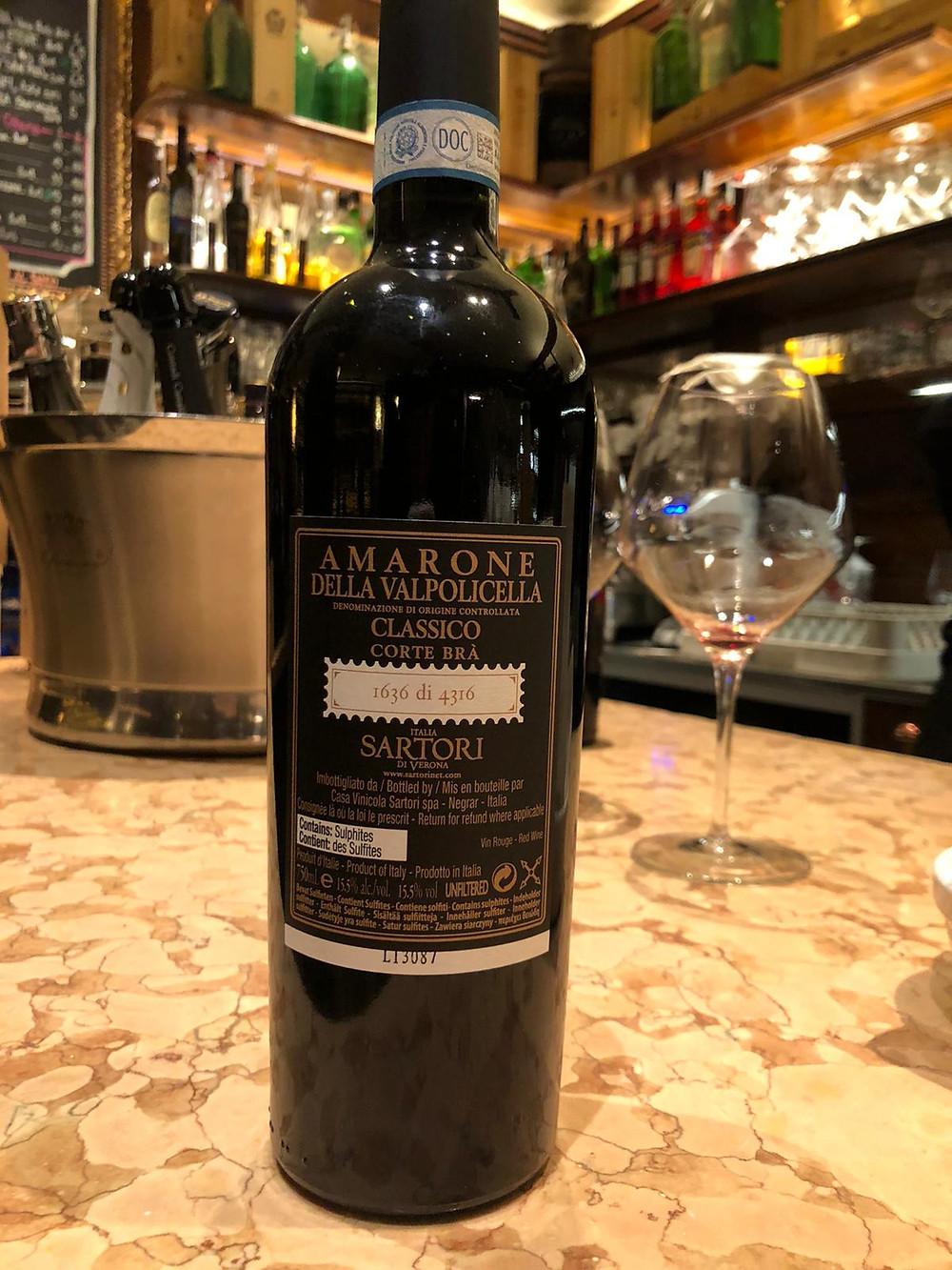 Amarone Corte Bra Sartori Heritage Collection 2009 all'Osteria Caffè Monte Baldo