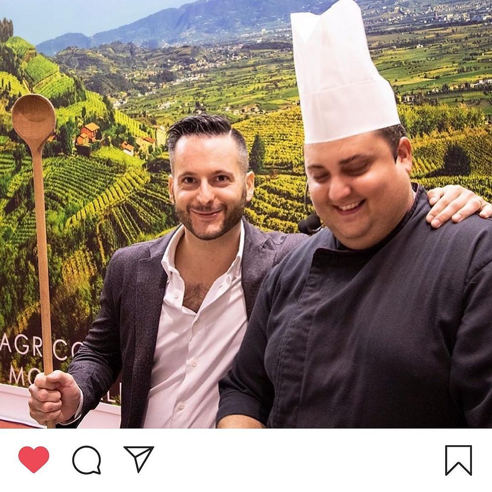 Il nostro responsabile Simone Vesentini e lo chef Manuel Orlandi a Soave Versus 2019