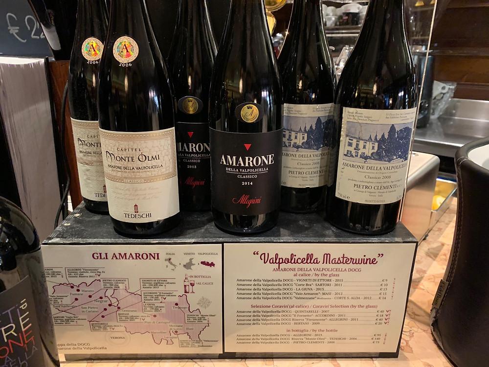 Alcuni degli Amaroni in vendita presso Caffè Monte Baldo durante Valpolicella Master Wine