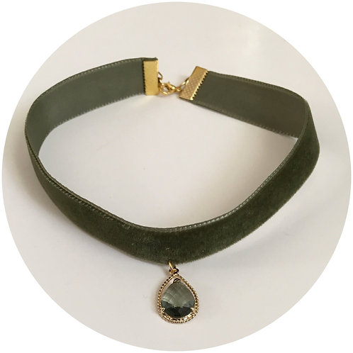 Pistachio Green Velvet Choker with Teardrop Pendant