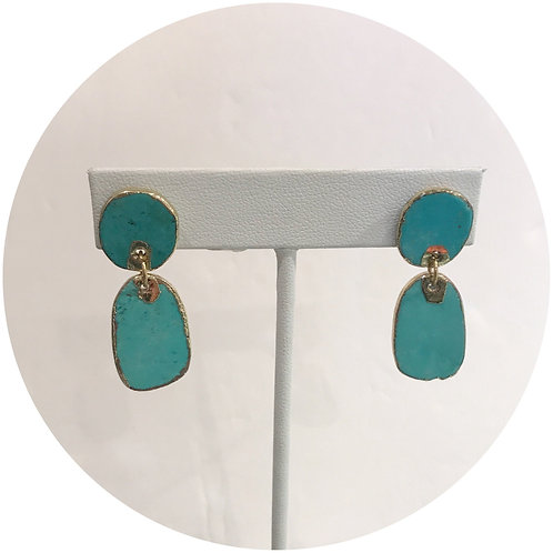 Tenley Turquoise Magnesite Gold Framed Drop Earring