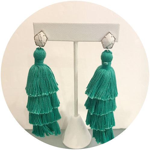 Tula Green Turquoise Tassel Earring