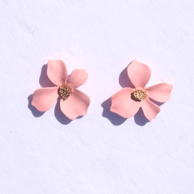 Dahlia Pink Flower Shaped Stud