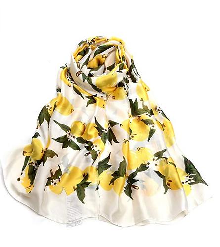 White Lemon Print Silk Scarf
