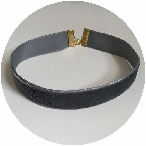 Dark Grey Velvet Choker
