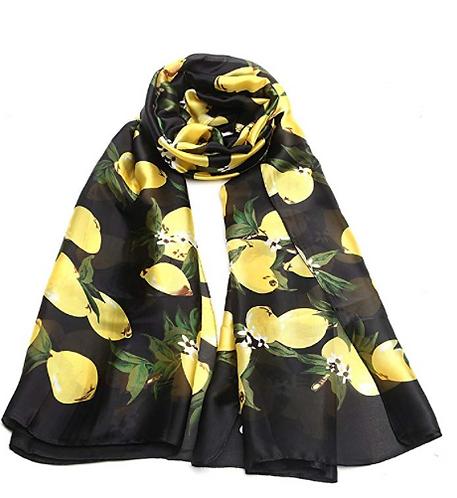 Black Lemon Print Silk Scarf