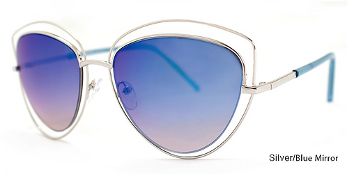 Melinda Silver/Blue Mirror Sunglasses