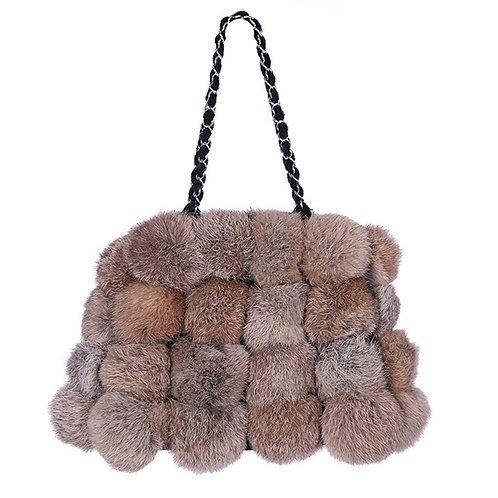 Mina Tan Rabbit Fur Bag
