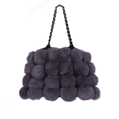 Mina Purple Rabbit Fur Bag