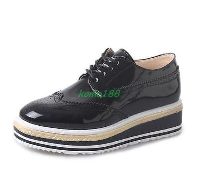 Womens Brogue oxford Shoes Lace Up Flat Platform Wedge Heel Wing Tip Shoes