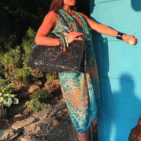 Black Lace Plastic Beach Bag