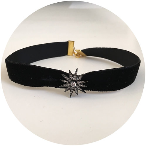 Black Velvet Choker with Pavé Starburst