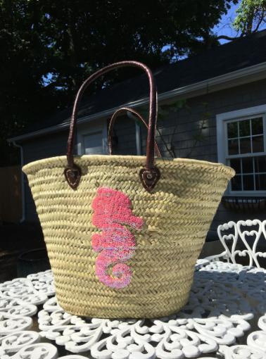 Pink Seahorse Beach Bag
