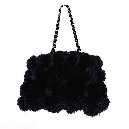 Mina Black Rabbit Fur Bag