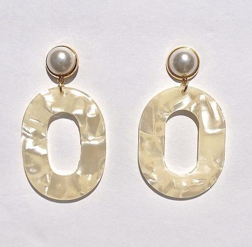 Coconut Pearl Acrylic Earrings