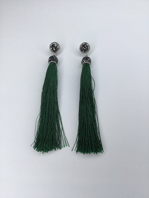 Vicki Pavé Emerald Tassel Earrings