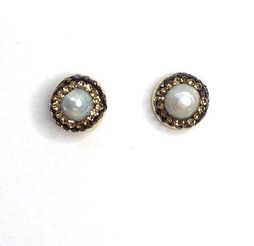 Penny Pearl Pavé Stud Earring