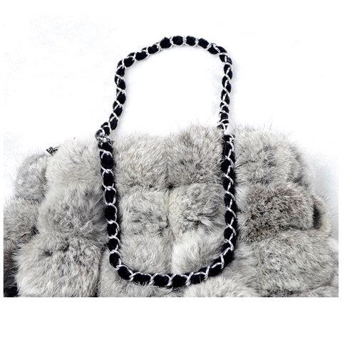 Mina Grey Rabbit Fur Bag