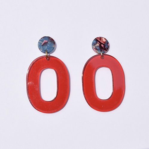 Big Apple Red Acrylic Earrings