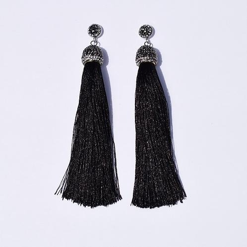 Vicki Pavé Black Tassel Earrings