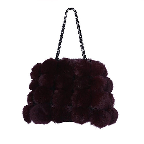 Mina Maroon Rabbit Fur Bag