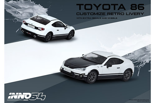 INNO64 - TOYOTA 86 White Customize Retro Livery W/ Extra Wheels