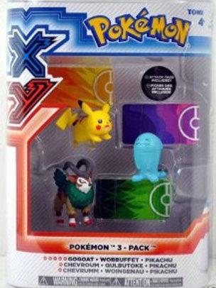 """Pokemon - Gogoat Wobbuffet Pikachu 3 Pack 4"""""""