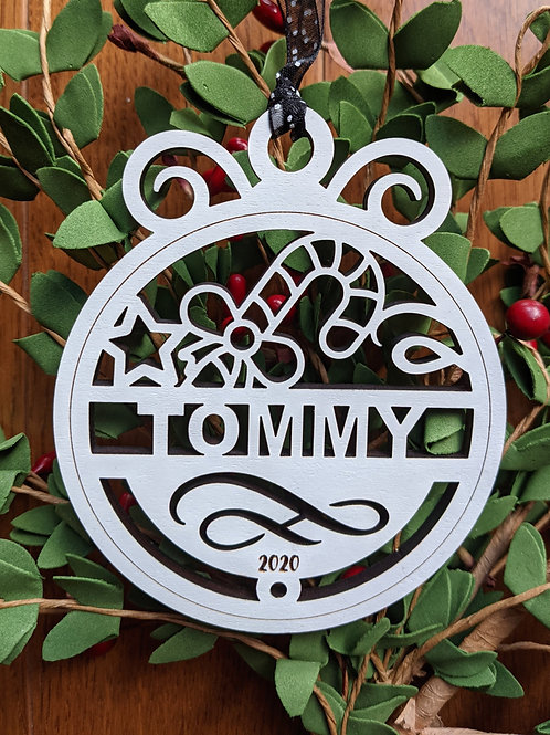 Candy Cane Personalized Ornament
