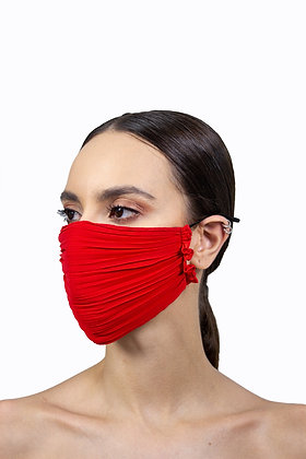 PLEATED FACE MASK - RED